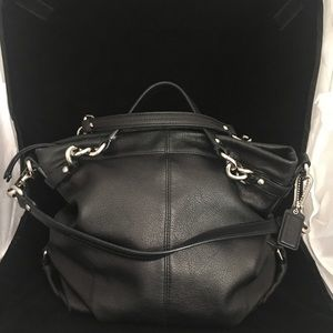 Coach VTG Soft Black Shoulder Bag Silver Hardware